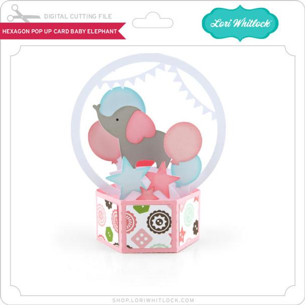 Hexagon Pop Up Card Baby Elephant