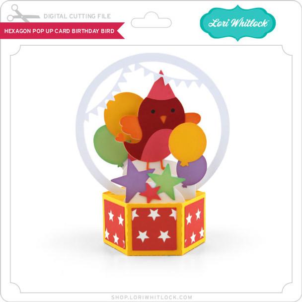 Hexagon Pop Up Card Birthday Bird