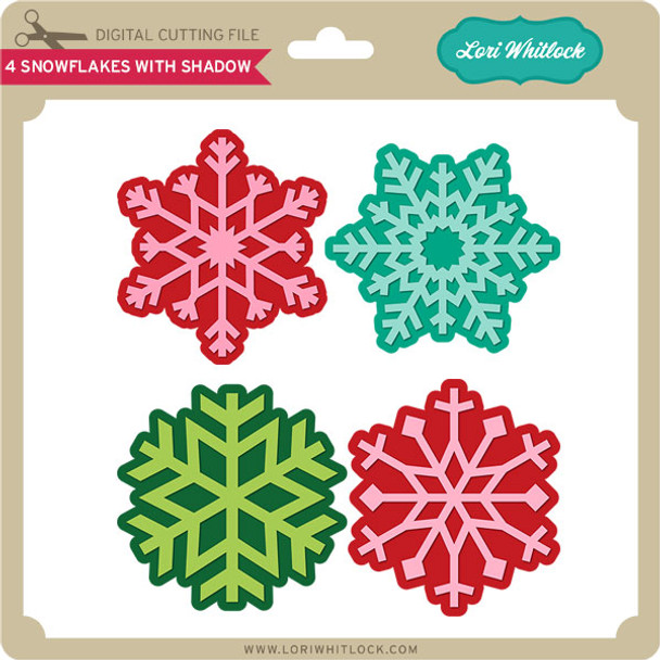 4 Snowflakes with Shadow