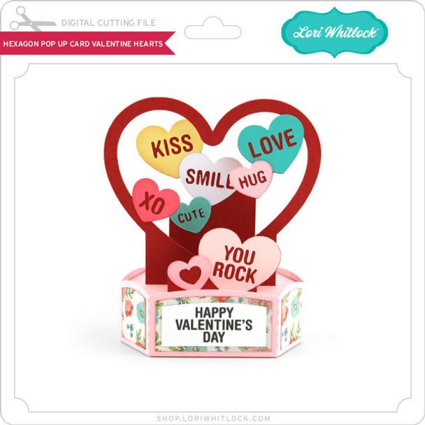 Hexagon Pop Up Card Valentine Hearts