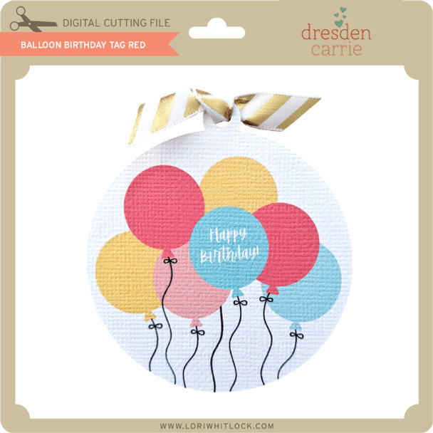Balloon Birthday Gift Tag Red