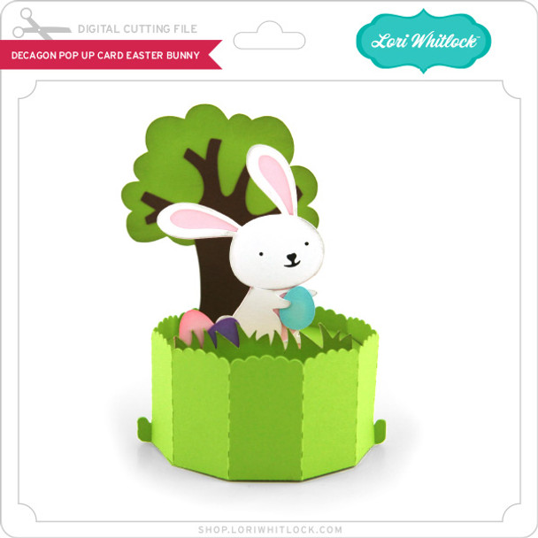 Decagon Pop Up Card Easter Bunny