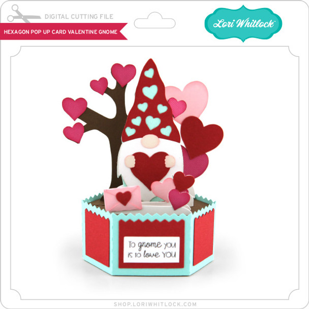 Hexagon Pop Up Card Valentine Gnome
