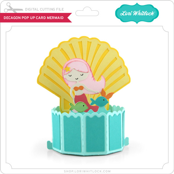 Decagon Pop Up Card Mermaid