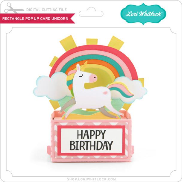 Rectangle Pop Up Card Unicorn
