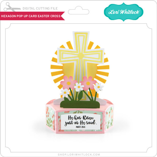 Hexagon Pop Up Card Easter Cross