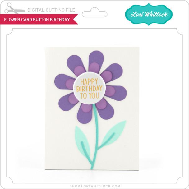 Flower Card Button Birthday