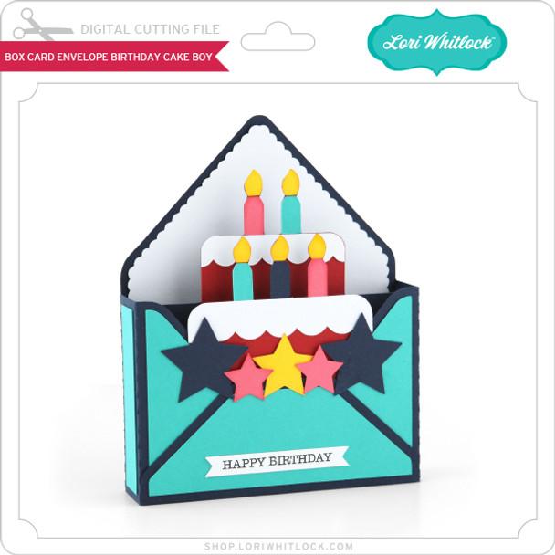 Box Card Envelope Birthday Cake Boy