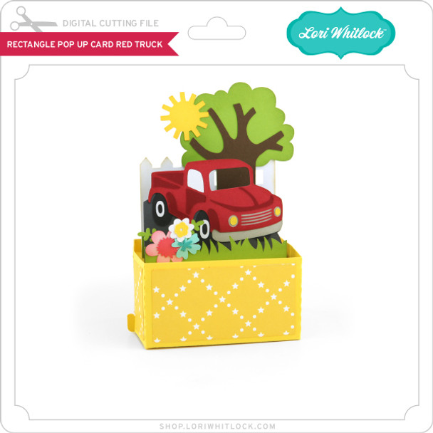 Rectangle Pop Up Card Red Truck