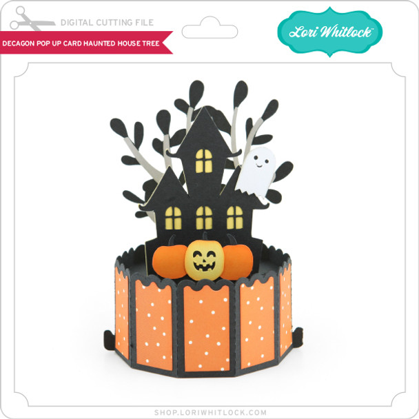Decagon Pop Up Card Haunted House Tree