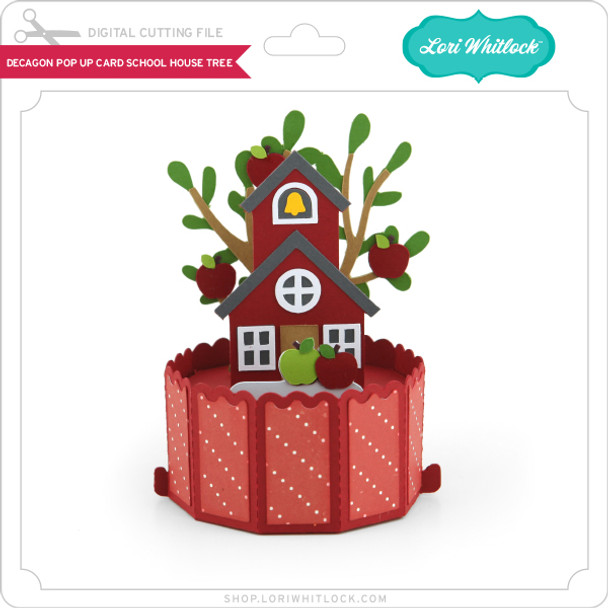Decagon Pop Up Card School House Tree