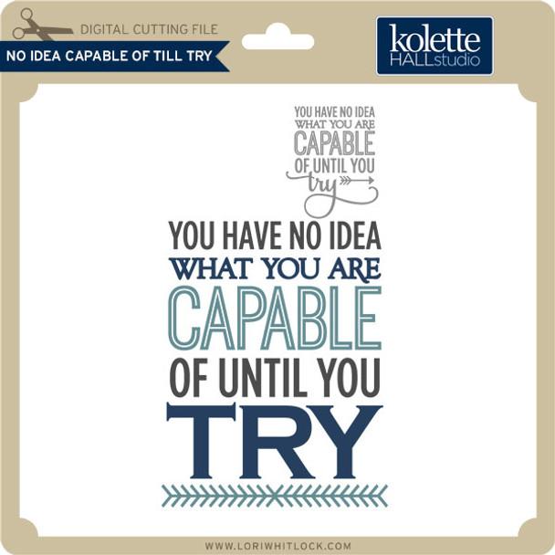 No Idea Capable of Till Try