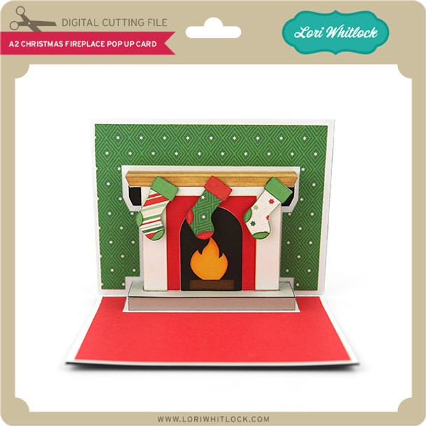 A2 Christmas Fireplace Pop Up  Card