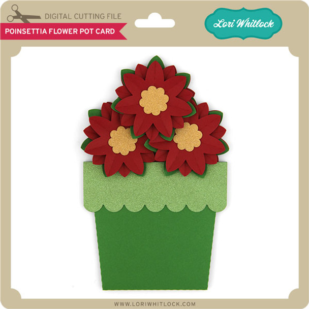 Poinsettia Flower Pot Card