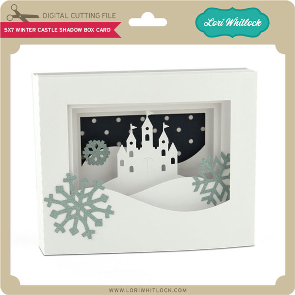 5x7 Winter Castle Shadow Box Card