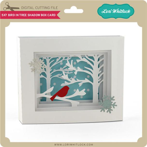 5x7 Bird in Tree Shadow Box Card