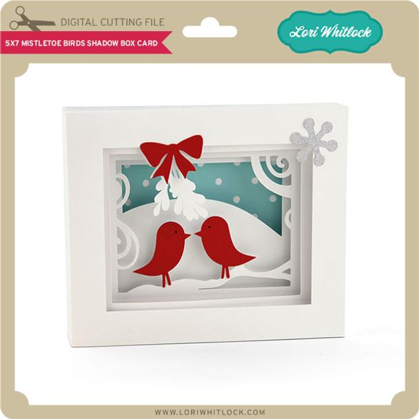 5x7 Mistletoe Birds Shadow Box Card