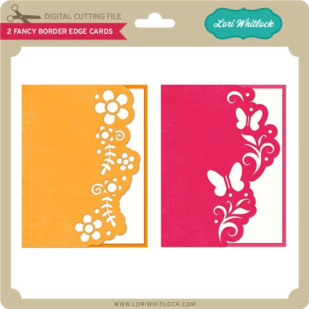 2 Fancy Border Edge Cards Butterfly