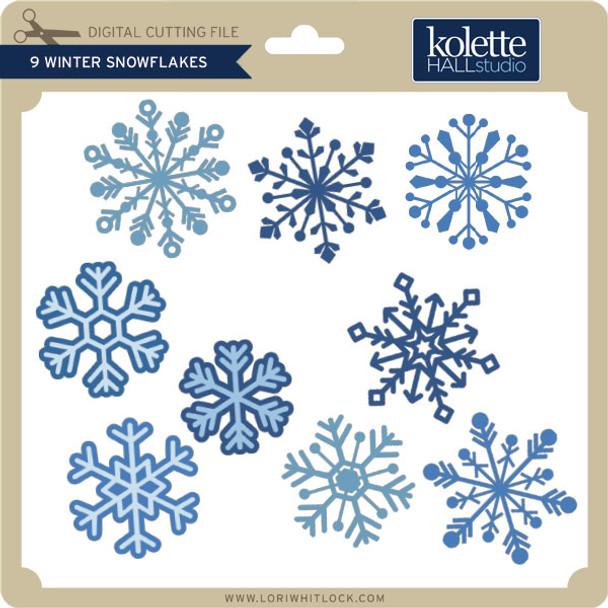 9 Winter Snowflakes