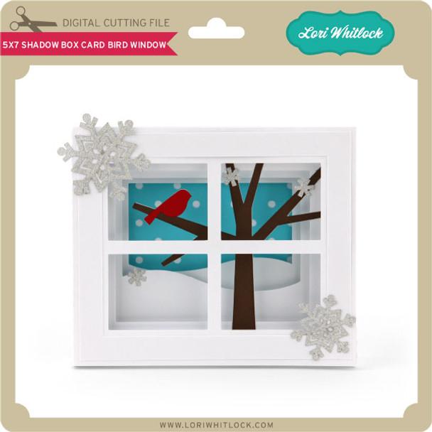 5x7 Shadow Box Card Bird Window