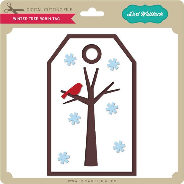 Winter Tree Robin Tag