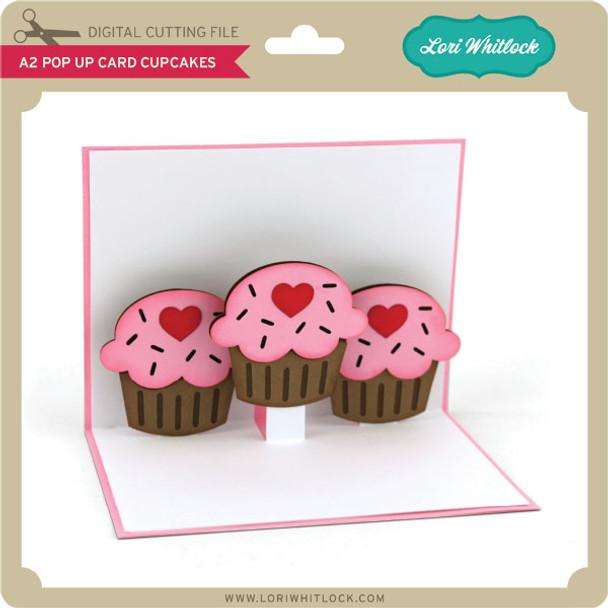 A2 Pop Up Card Cupcakes