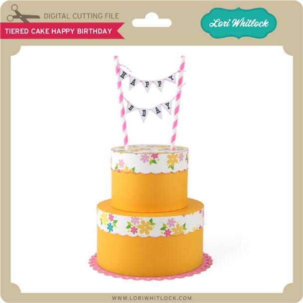 Tiered Cake Happy Birthday