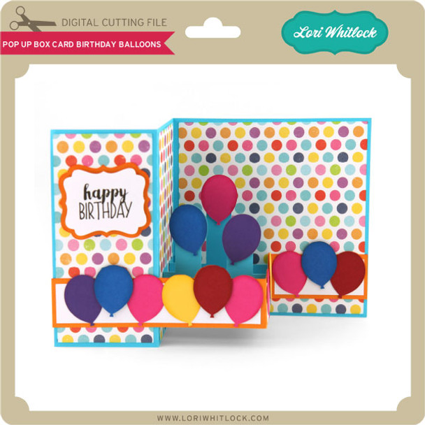 Pop Up Box Card Birthday Balloons