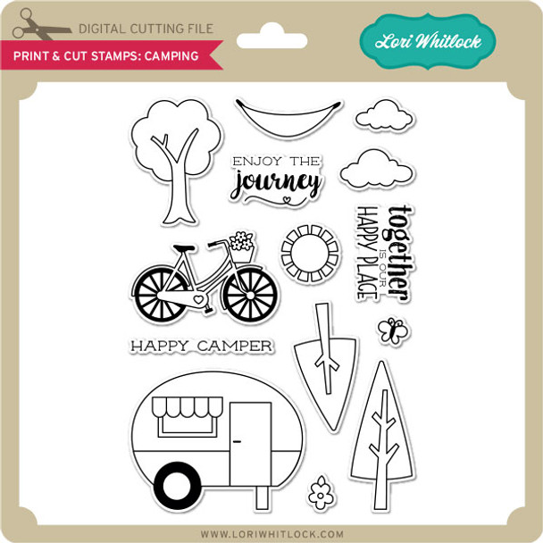 Print & Cut Stamps Camping