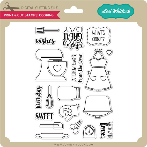 Print & Cut Stamps Cooking