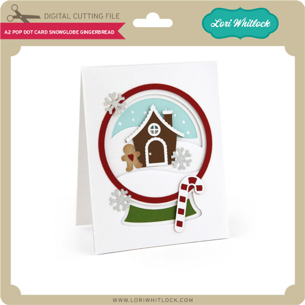 A2 Pop Dot Card Snowglobe Gingerbread
