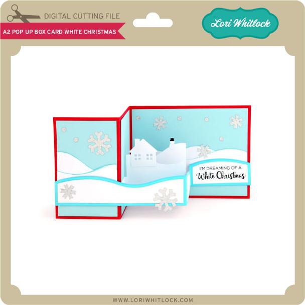 A2 Pop Up Box Card White Christmas