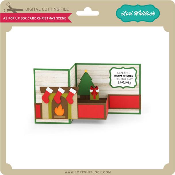 A2 Pop Up Box Card Christmas Scene