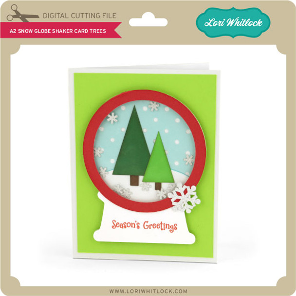 A2 Snow Globe Shaker Card Trees
