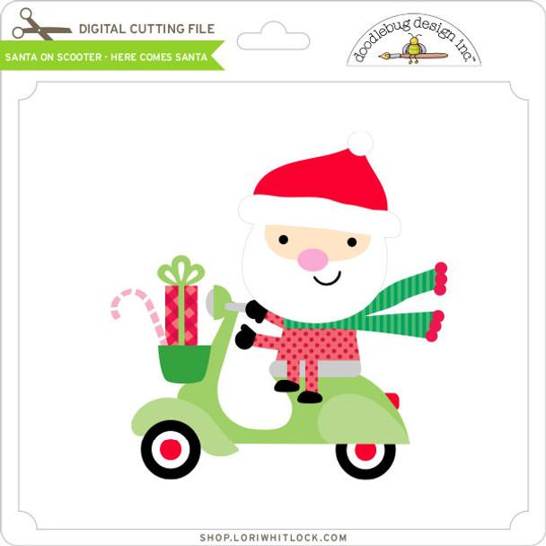 Santa on Scooter - Here Comes Santa
