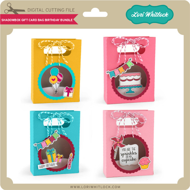 Shadowbox Gift Card Bag Birthday Bundle