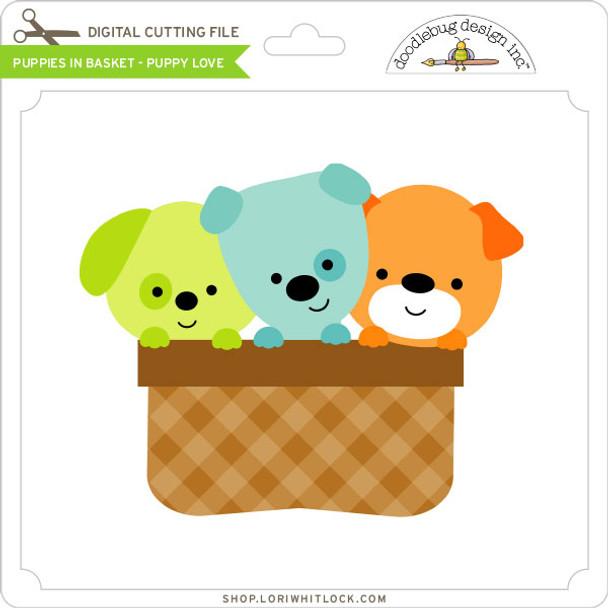 Puppies In Basket Puppy Love