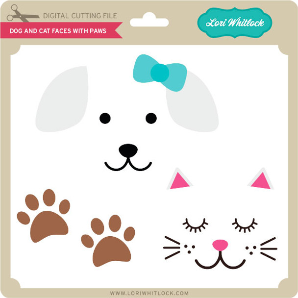 Dog and Cat Faces with Paws