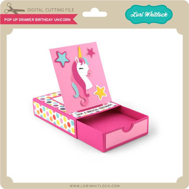 Pop Up Drawer Birthday Unicorn