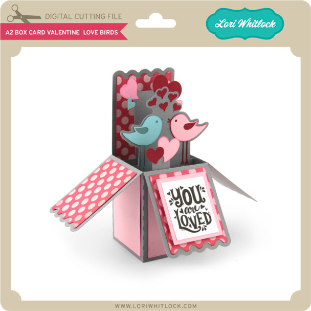 A2 Box Card Valentine Love Birds