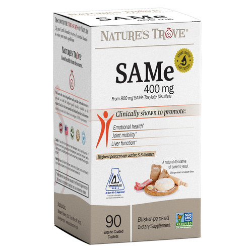 SAMe (S-Adenosyl-Methionine) 400 mg. Enteric-Coated Tablets by Nature's Trove