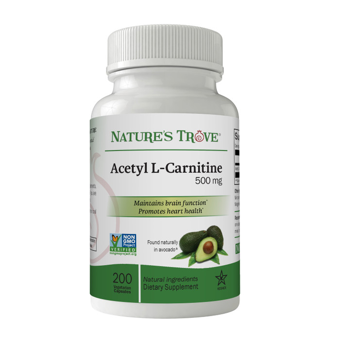 Acetyl L-Carnitine (ALCAR) 500mg Vegetarian Capsules by Nature's Trove