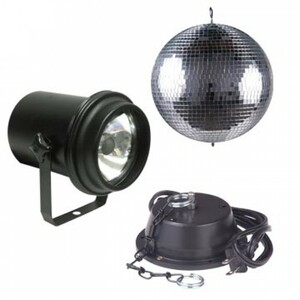 """8"""" mirror ball package with A/C motor, Pinspot with lamp"""