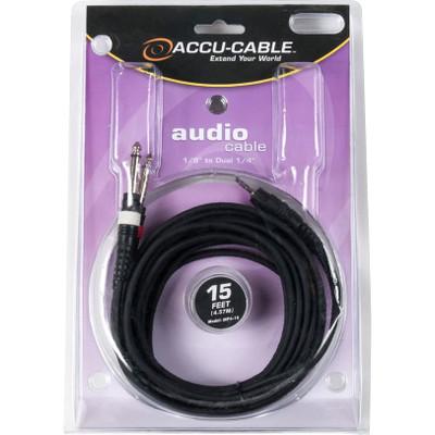 """Accu-Cable MP4-15 1/8"""" Mini Plug to 1/4"""" Cable (15')"""