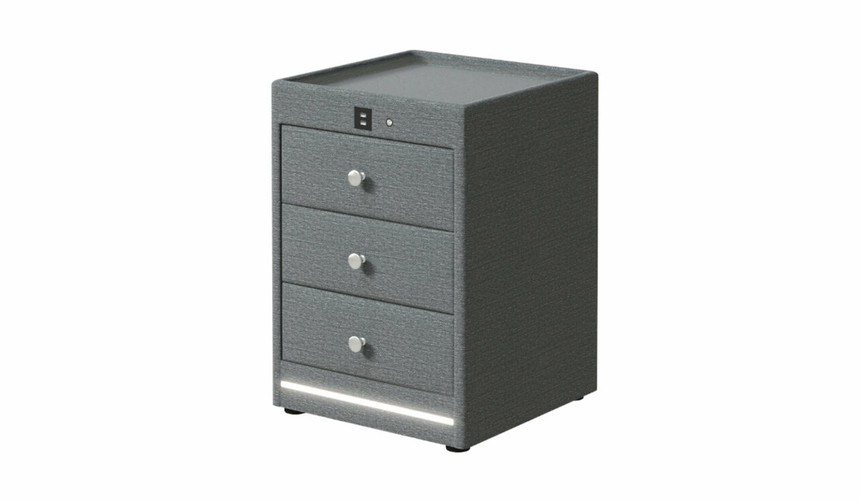 Kuban USB Chargering Upholstered Bedside Table