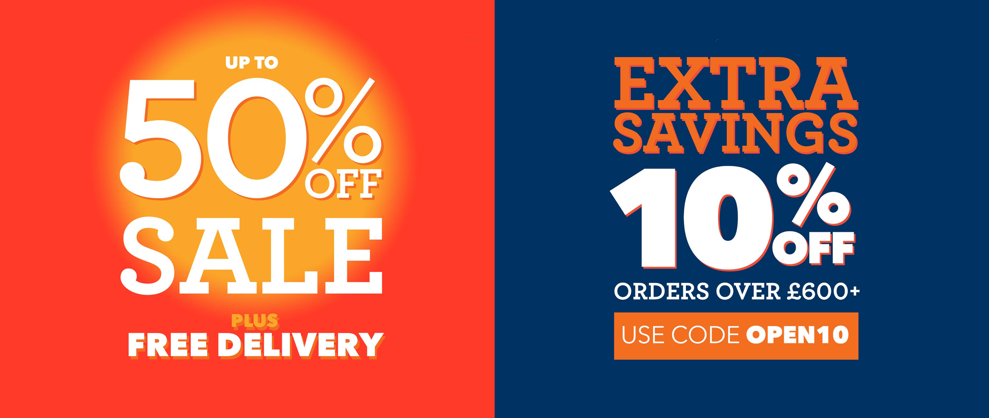 homepage - up 50% free delivery extra 10 - code OPEN10
