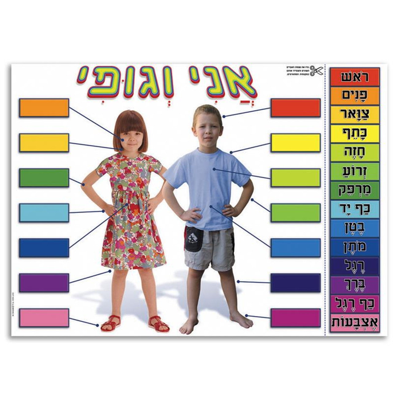 Ani Ve Gufi My Parts Of The Body Interactive Poster In Hebrew At