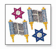 Torahs and David Stars Roll Prismatic Stickers