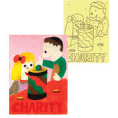 """Charity"", 12 Self-Adhesive Jewish Sand Art Boards, Without Sand"