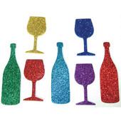 Shabbat, Passover Kiddush wine & Kiddush cups glittering cutouts for Shabbat and Passover arts & craft project ideas.